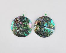 green abalone disc earrings (45mm)