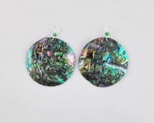green abalone disc earrings (45mm)
