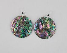 green abalone earrings 35mm