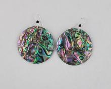 green abalone earrings 35mm