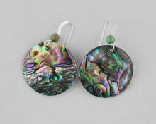 green abalone disc earrings 25mm (1 inch)