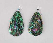 green abalone teardrop earrings 50mm
