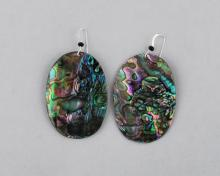 green abalone oval earrings