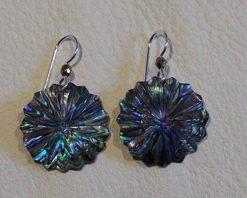 "small paua ""daisy"" earrings"