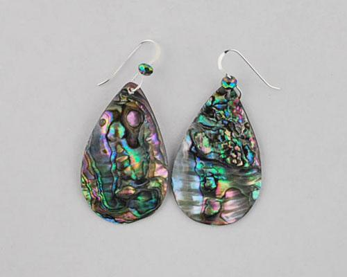 green abalone teardrop earrings